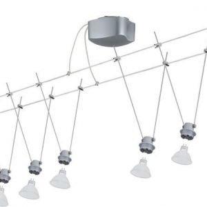 Vaijerivalaisinsetti DecoSystems mattakromi 5 valaisinta + vaijeri 10 m + muuntaja