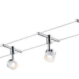 Vaijerivalaisinsetti Stage valkoinen/kromi 4 valaisinta + vaijeri 10 m + muuntaja