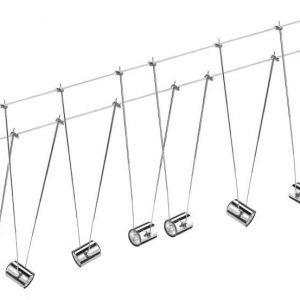 Vaijerivalaisinsetti TeleComet II kromi 7 valaisinta + vaijeri 12 m + muuntaja