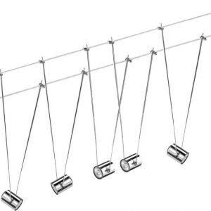 Vaijerivalaisinsetti TeleComet kromi 5 valaisinta + vaijeri 10 m + muuntaja