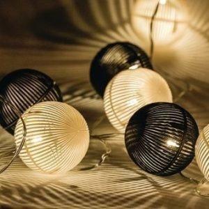 Valoköynnös mustavalkoiset pallot 10 LED-valoa