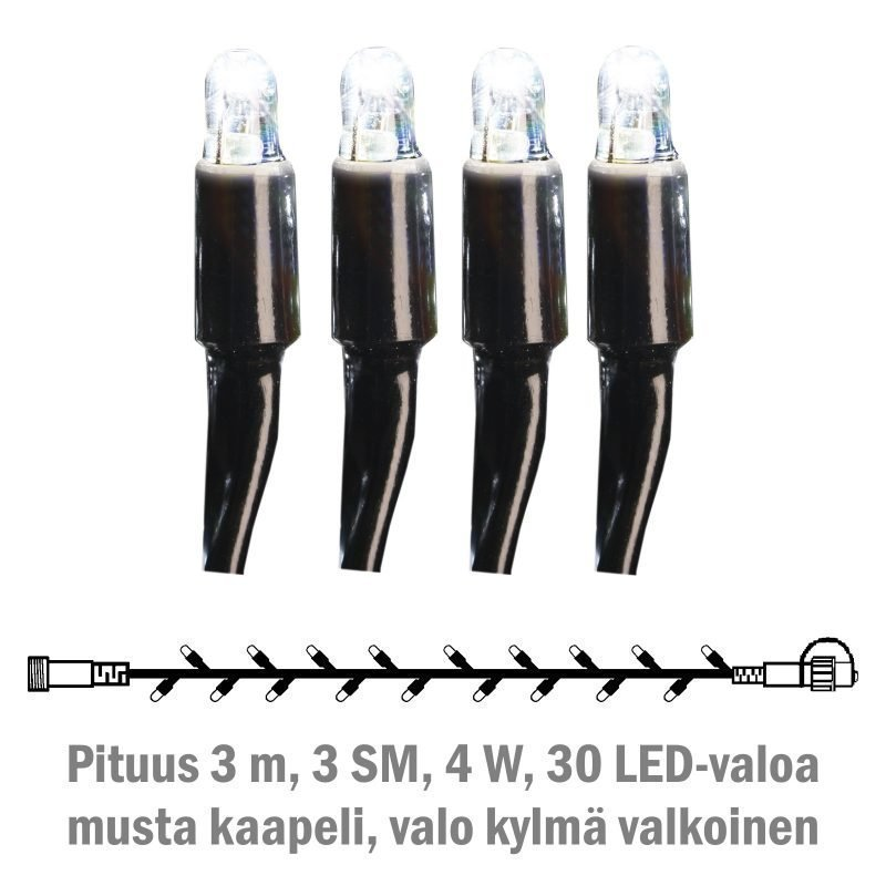 Valonauha System LED Extra musta 4W 30 valoa 3 m kylmä valkoinen