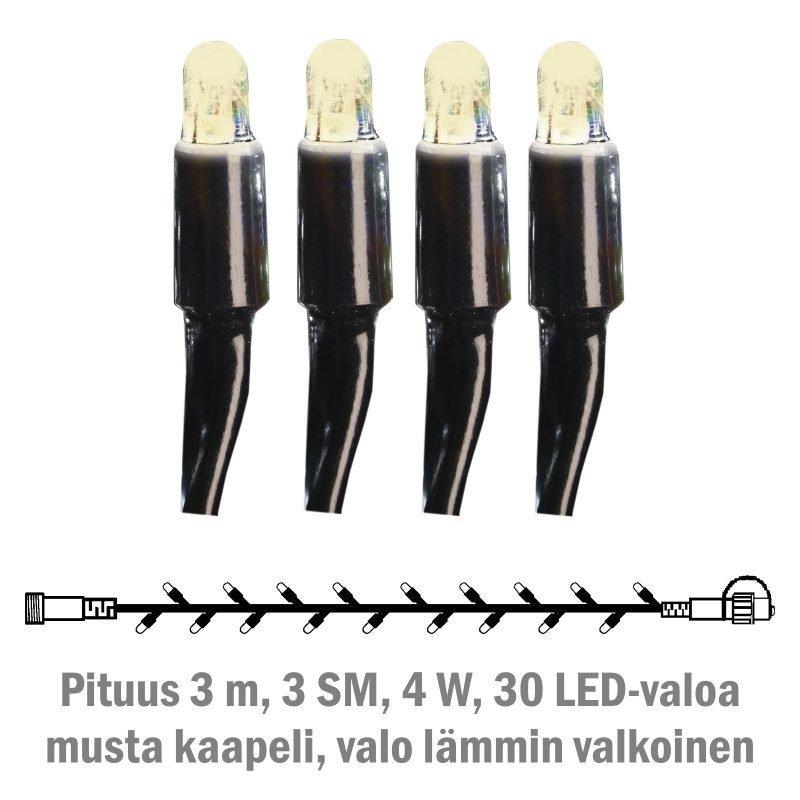 Valonauha System LED Extra musta 4W 30 valoa 3 m lämmin valkoinen