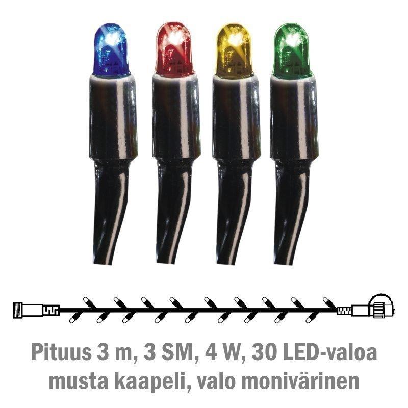 Valonauha System LED Extra musta 4W 30 valoa 3 m monivärinen