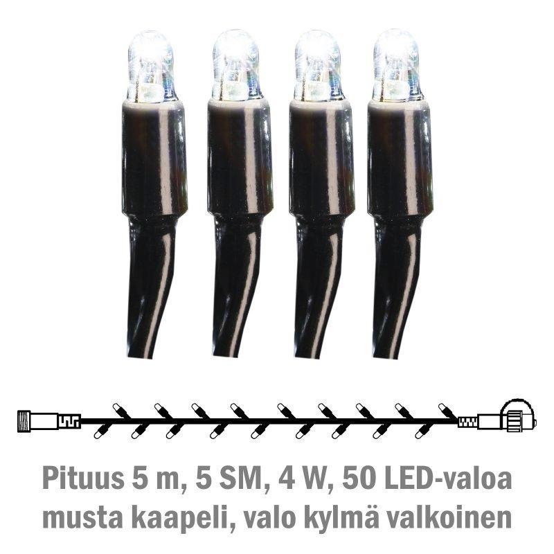 Valonauha System LED Extra musta 4W 50 valoa 5 m kylmä valkoinen