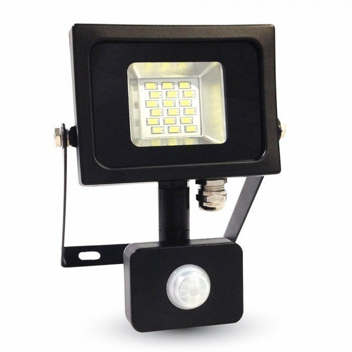 Valonheitin LED Slim V-TAC VT-4810 PIR 10W 230V 4500K 800lm IP44 musta