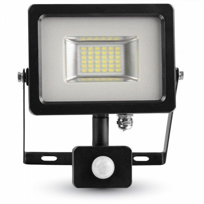 Valonheitin LED Slim V-TAC VT-4820 PIR 20W 230V 4500K 1600lm IP44 musta