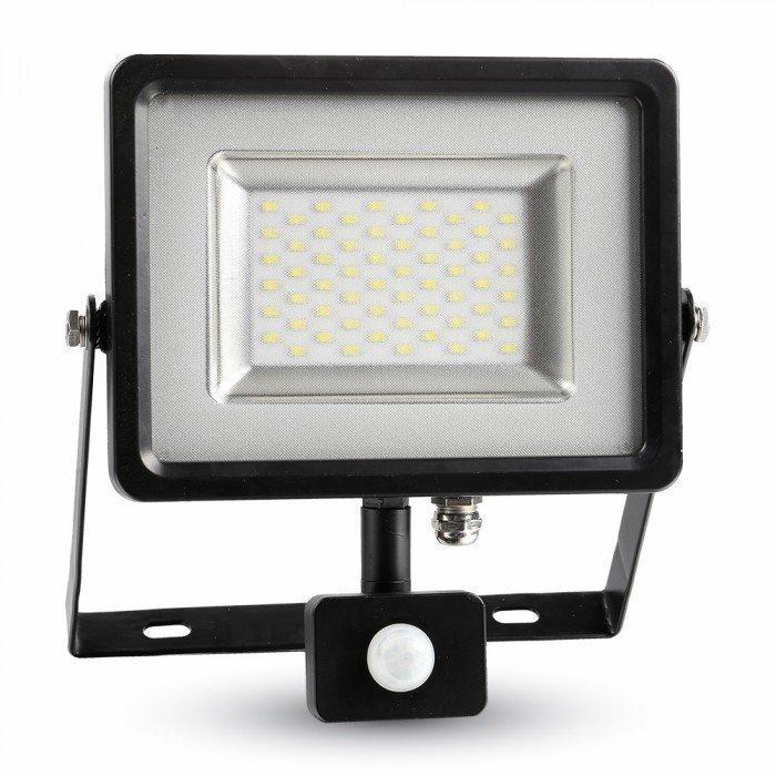 Valonheitin LED Slim V-TAC VT-4830 PIR30W 230V 4500K 2400lm IP44 musta