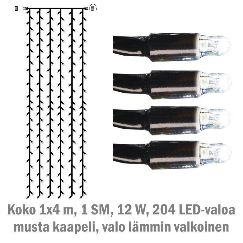 Valoverho System LED Extra musta 12W 204 valoa 1x4 m kylmä valkoinen