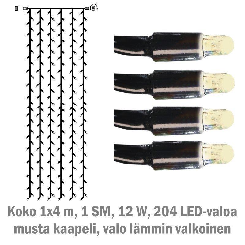 Valoverho System LED Extra musta 12W 204 valoa 1x4 m lämmin valkoinen