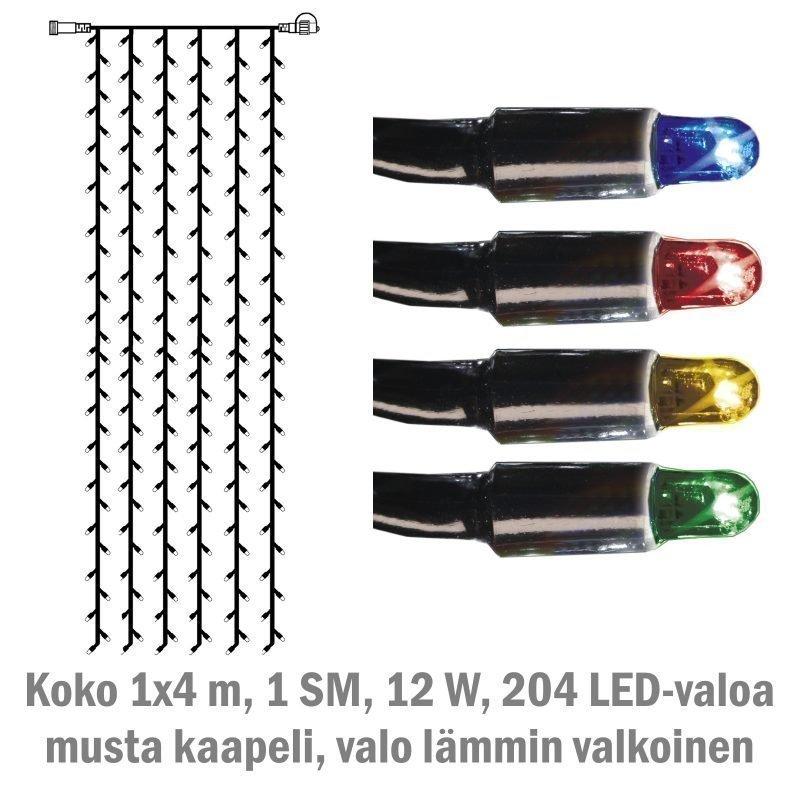 Valoverho System LED Extra musta 12W 204 valoa 1x4 m monivärinen