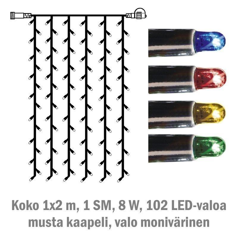 Valoverho System LED Extra musta 8W 102 valoa 1x2 m monivärinen