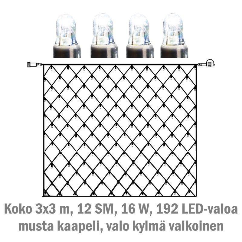 Valoverkko System LED Extra musta 16W 192 valoa 3x3 m kylmä valkoinen