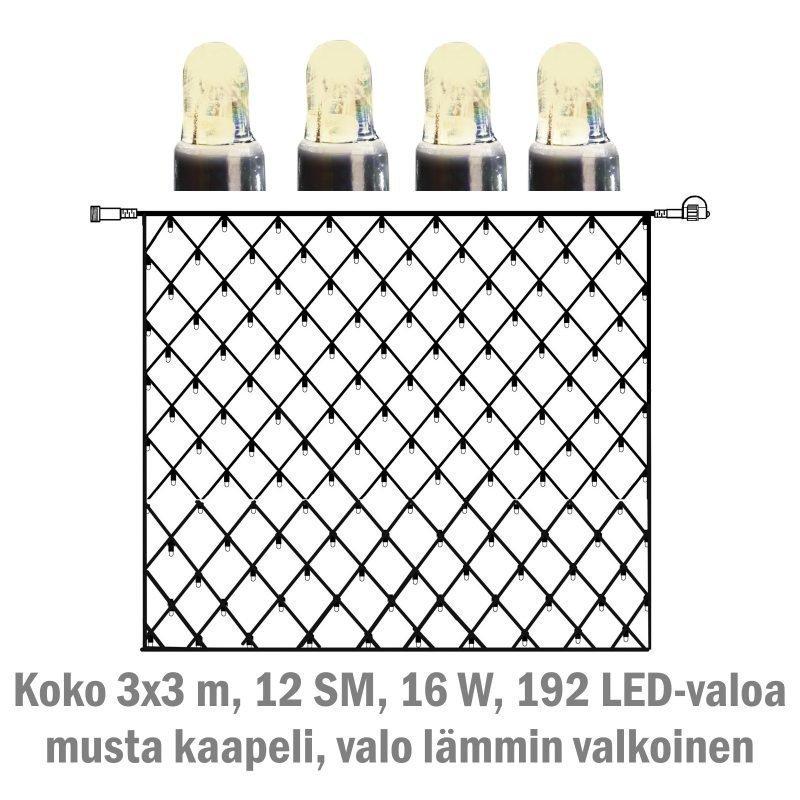 Valoverkko System LED Extra musta 16W 192 valoa 3x3 m lämmin valkoinen