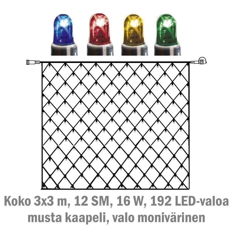 Valoverkko System LED Extra musta 16W 192 valoa 3x3 m monivärinen