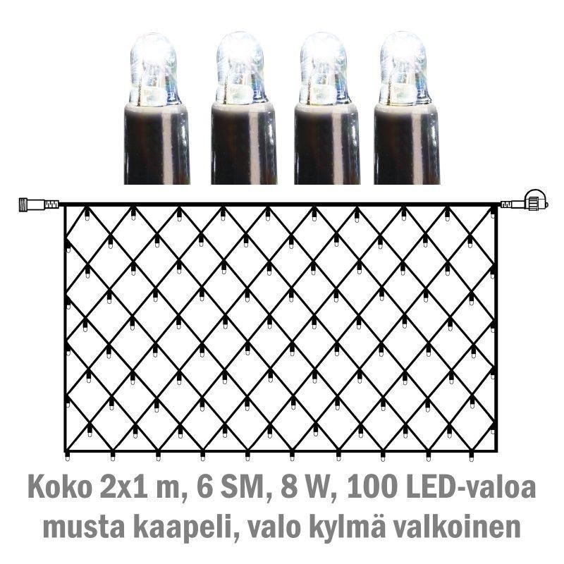 Valoverkko System LED Extra musta 8W 100 valoa 2x1 m kylmä valkoinen