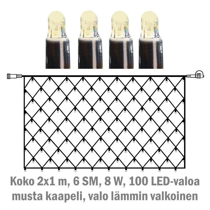 Valoverkko System LED Extra musta 8W 100 valoa 2x1 m lämmin valkoinen