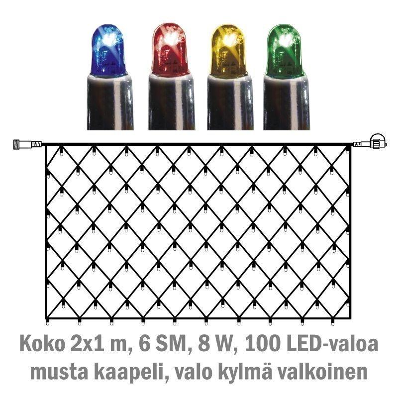 Valoverkko System LED Extra musta 8W 100 valoa 2x1 m monivärinen