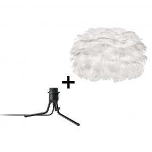 Vita Eos Medium Pöytävalaisin + Mini Jalka Valkoinen / Musta